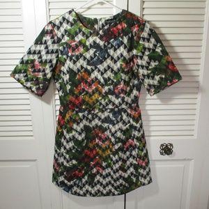 TOPSHOP Chevron Floral Print Dress US 4